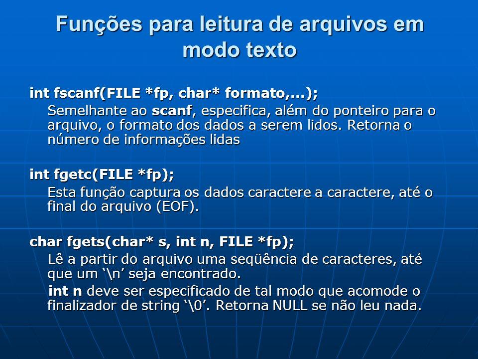 Funções para leitura de arquivos em modo texto