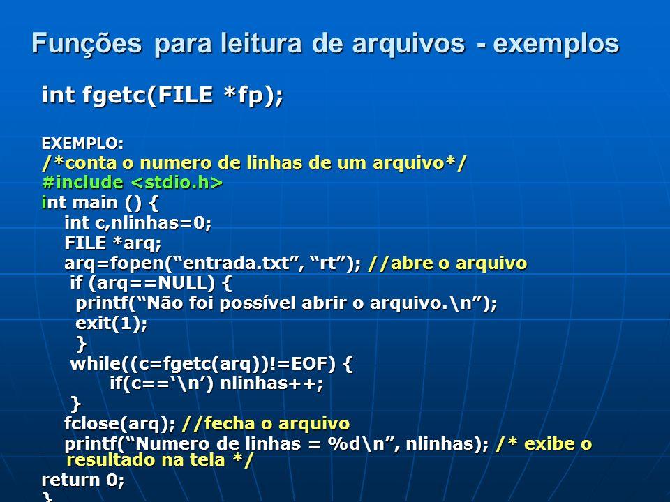 Funções para leitura de arquivos - exemplos