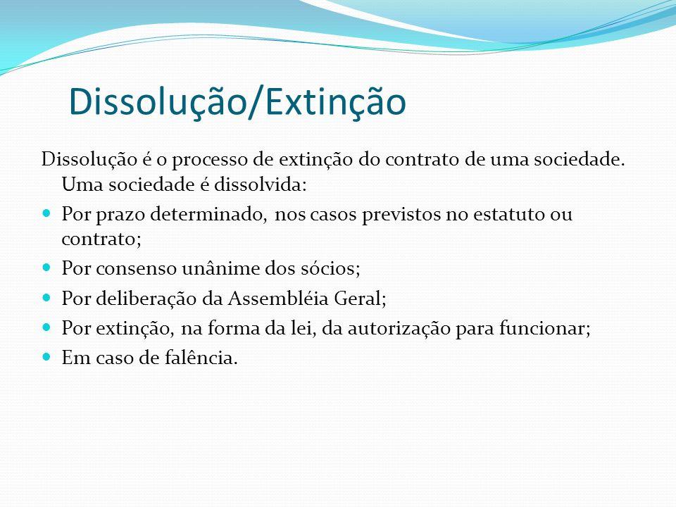 Dissolução/Extinção Dissolução é o processo de extinção do contrato de uma sociedade. Uma sociedade é dissolvida: