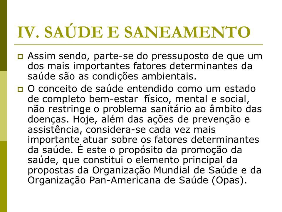 IV. SAÚDE E SANEAMENTO