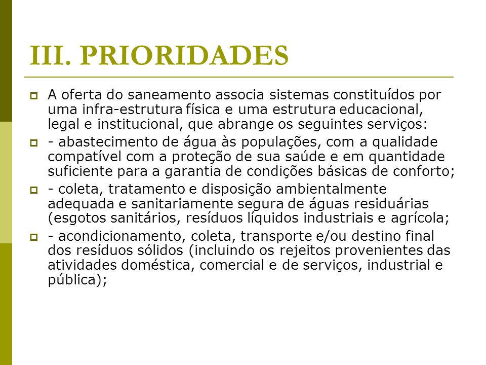 III. PRIORIDADES