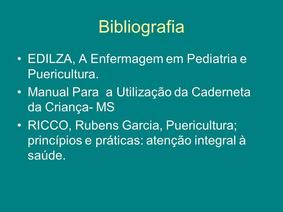 Bibliografia EDILZA, A Enfermagem em Pediatria e Puericultura.