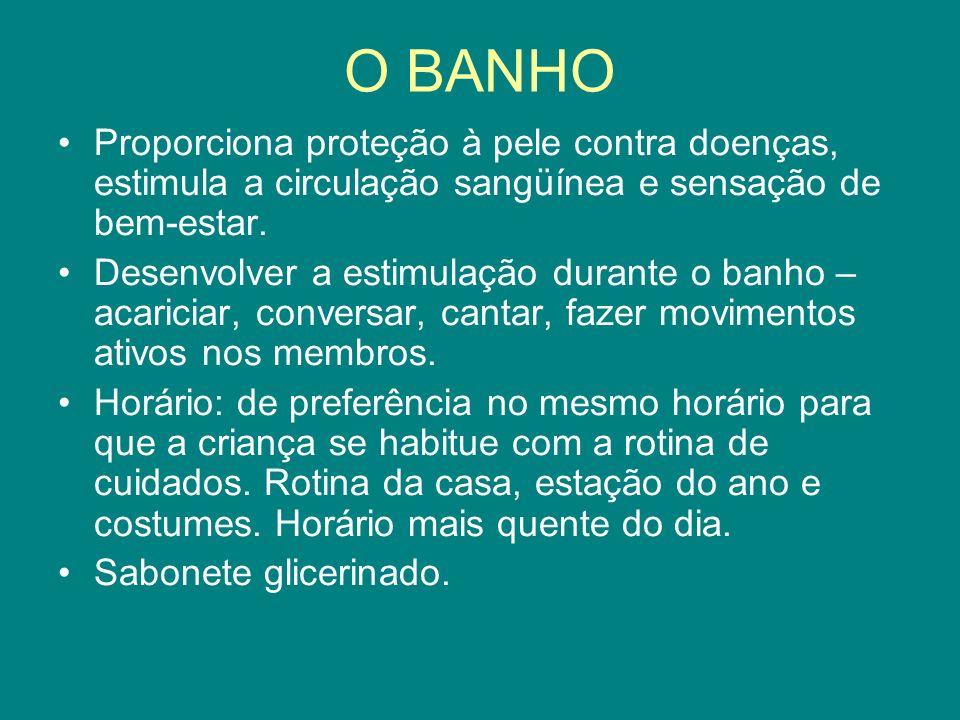 O BANHO Proporciona proteção à pele contra doenças, estimula a circulação sangüínea e sensação de bem-estar.