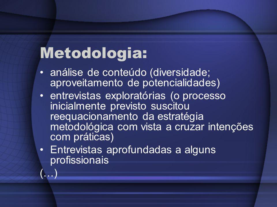 Metodologia:análise de conteúdo (diversidade; aproveitamento de potencialidades)