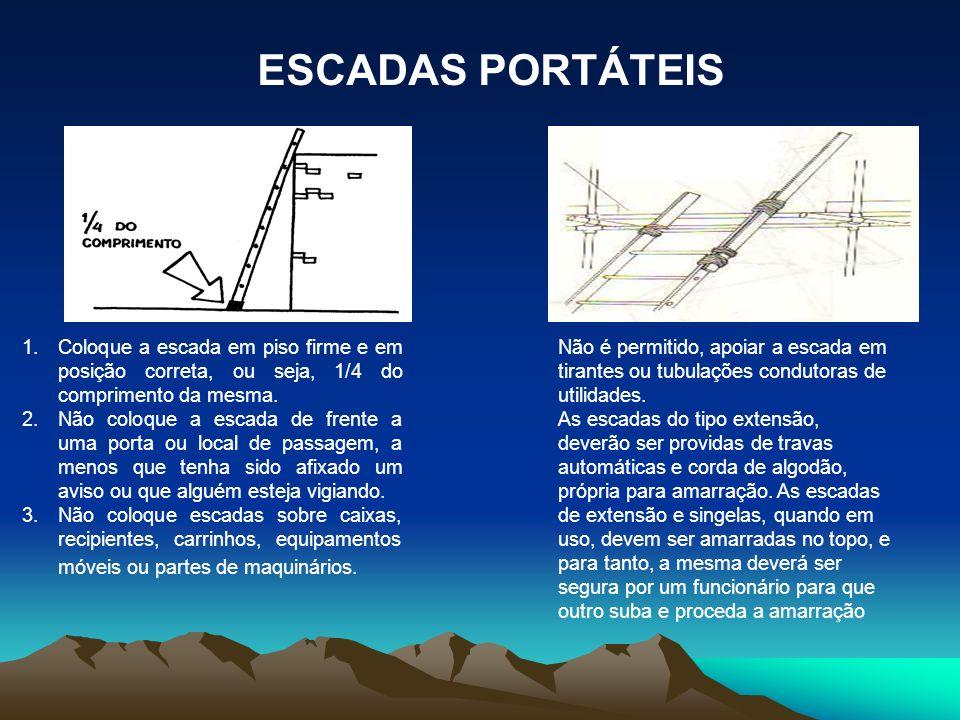 ESCADAS PORTÁTEIS Coloque a escada em piso firme e em posição correta, ou seja, 1/4 do comprimento da mesma.