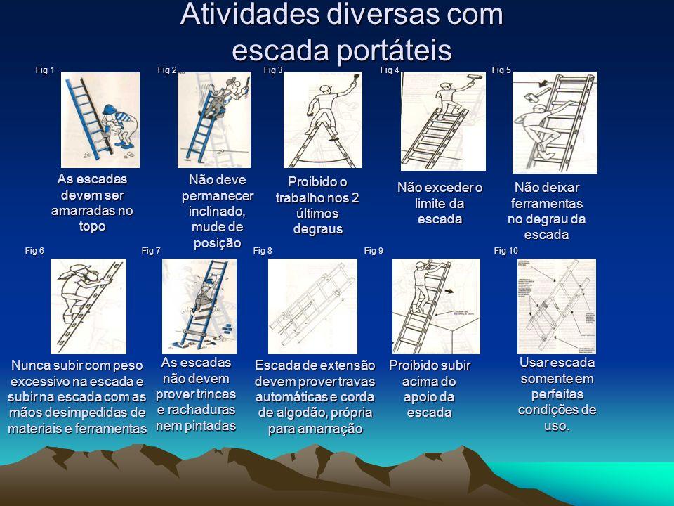 Atividades diversas com escada portáteis
