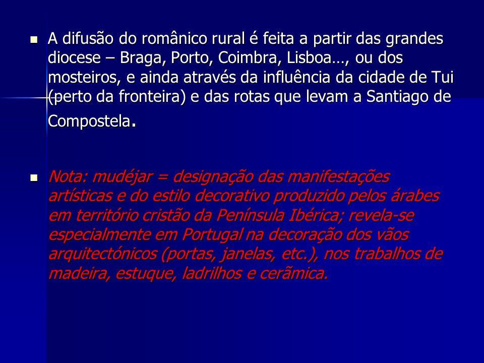 A difusão do românico rural é feita a partir das grandes diocese – Braga, Porto, Coimbra, Lisboa…, ou dos mosteiros, e ainda através da influência da cidade de Tui (perto da fronteira) e das rotas que levam a Santiago de Compostela.