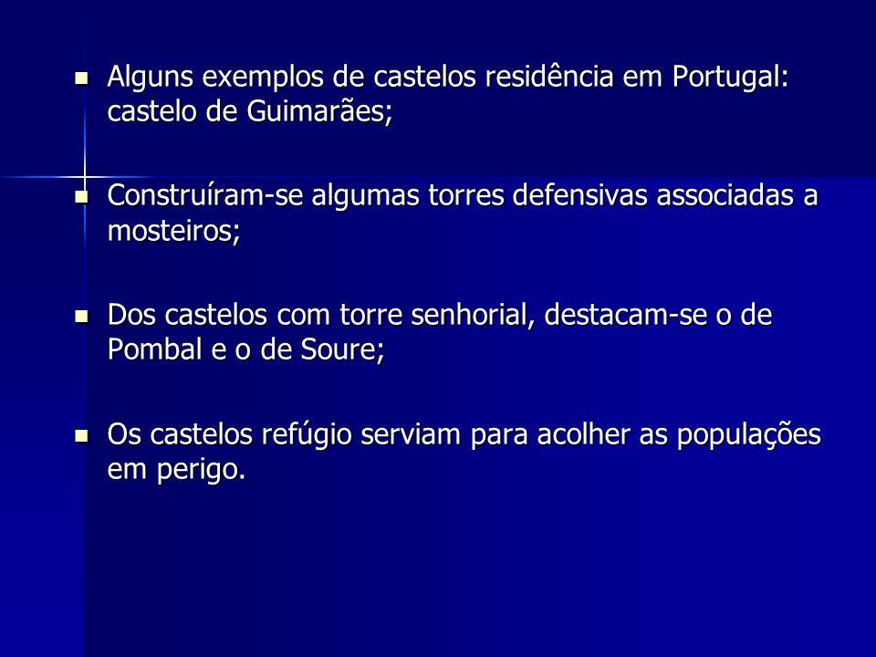 Alguns exemplos de castelos residência em Portugal: castelo de Guimarães;
