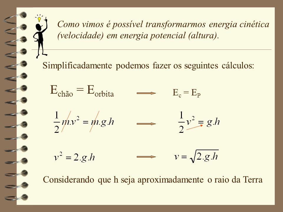 Como vimos é possível transformarmos energia cinética (velocidade) em energia potencial (altura).