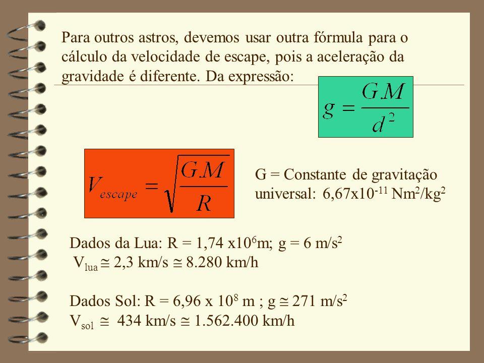 Para outros astros, devemos usar outra fórmula para o cálculo da velocidade de escape, pois a aceleração da gravidade é diferente. Da expressão: