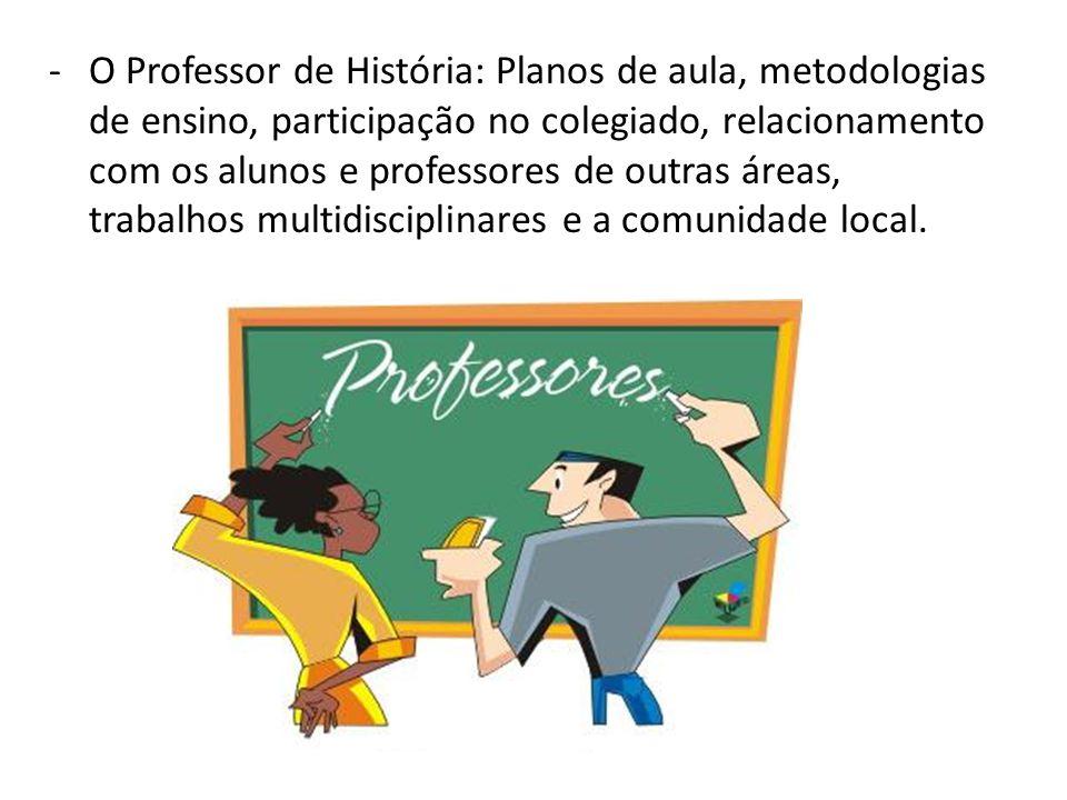 O Professor de História: Planos de aula, metodologias de ensino, participação no colegiado, relacionamento com os alunos e professores de outras áreas, trabalhos multidisciplinares e a comunidade local.