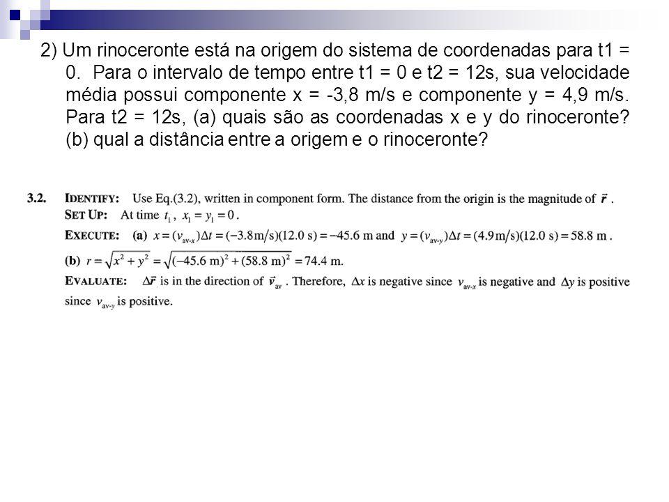 2) Um rinoceronte está na origem do sistema de coordenadas para t1 = 0