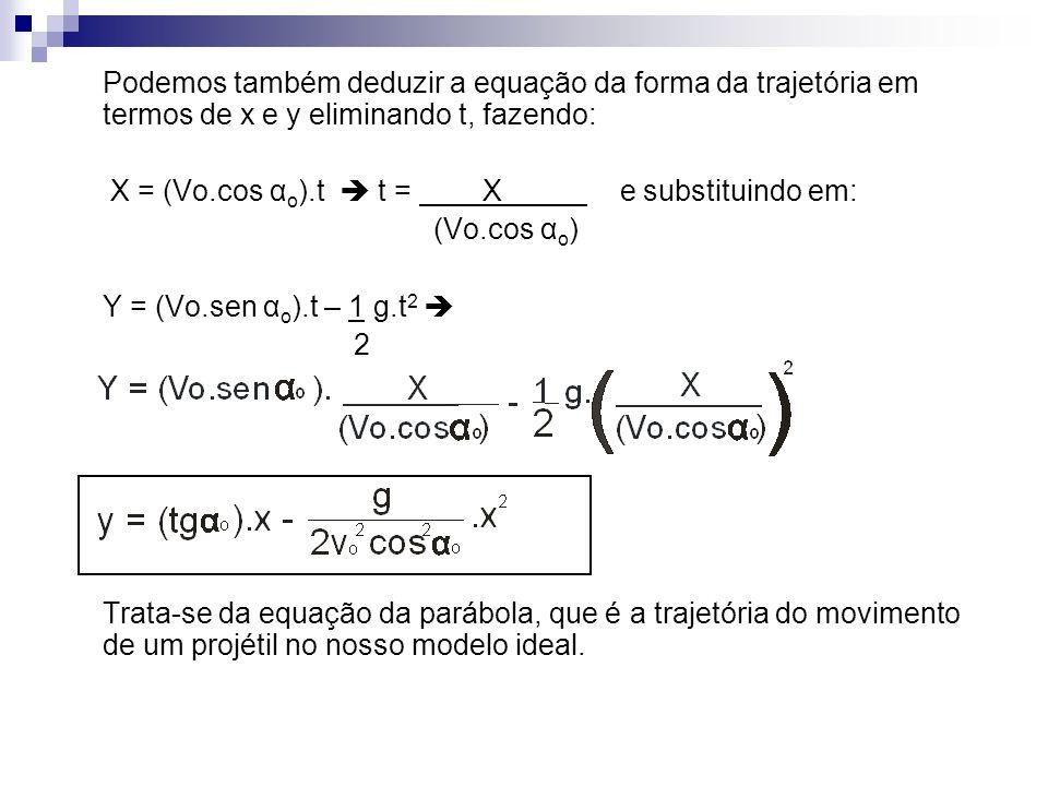 Podemos também deduzir a equação da forma da trajetória em termos de x e y eliminando t, fazendo:
