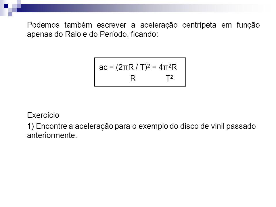 Podemos também escrever a aceleração centrípeta em função apenas do Raio e do Período, ficando:
