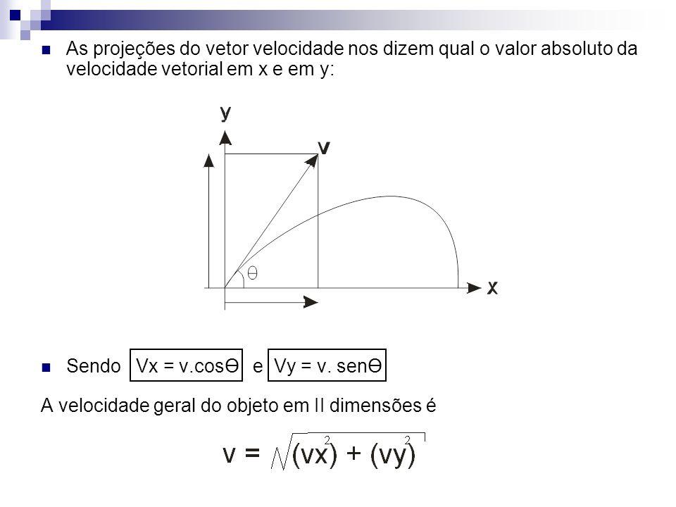 As projeções do vetor velocidade nos dizem qual o valor absoluto da velocidade vetorial em x e em y: