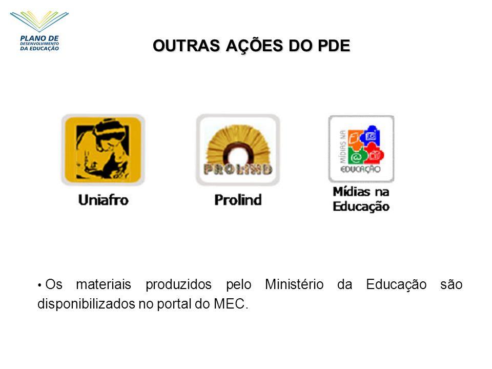 OUTRAS AÇÕES DO PDE Os materiais produzidos pelo Ministério da Educação são disponibilizados no portal do MEC.
