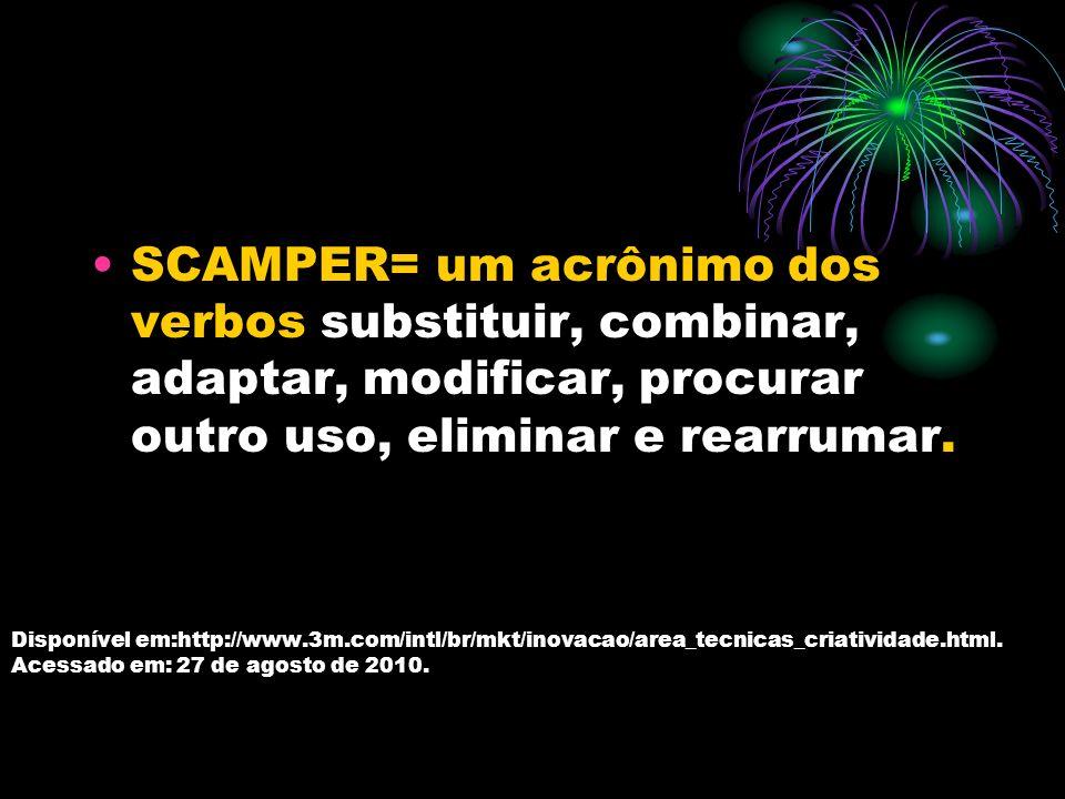 SCAMPER= um acrônimo dos verbos substituir, combinar, adaptar, modificar, procurar outro uso, eliminar e rearrumar.