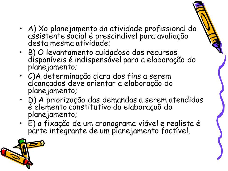 A) Xo planejamento da atividade profissional do assistente social é prescindível para avaliação desta mesma atividade;