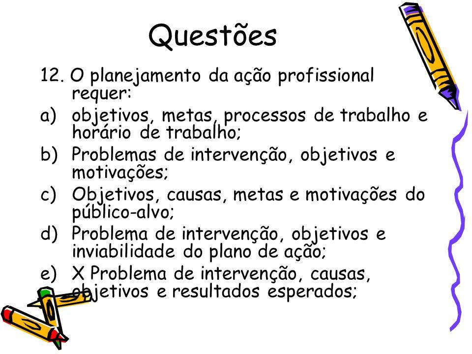 Questões 12. O planejamento da ação profissional requer: