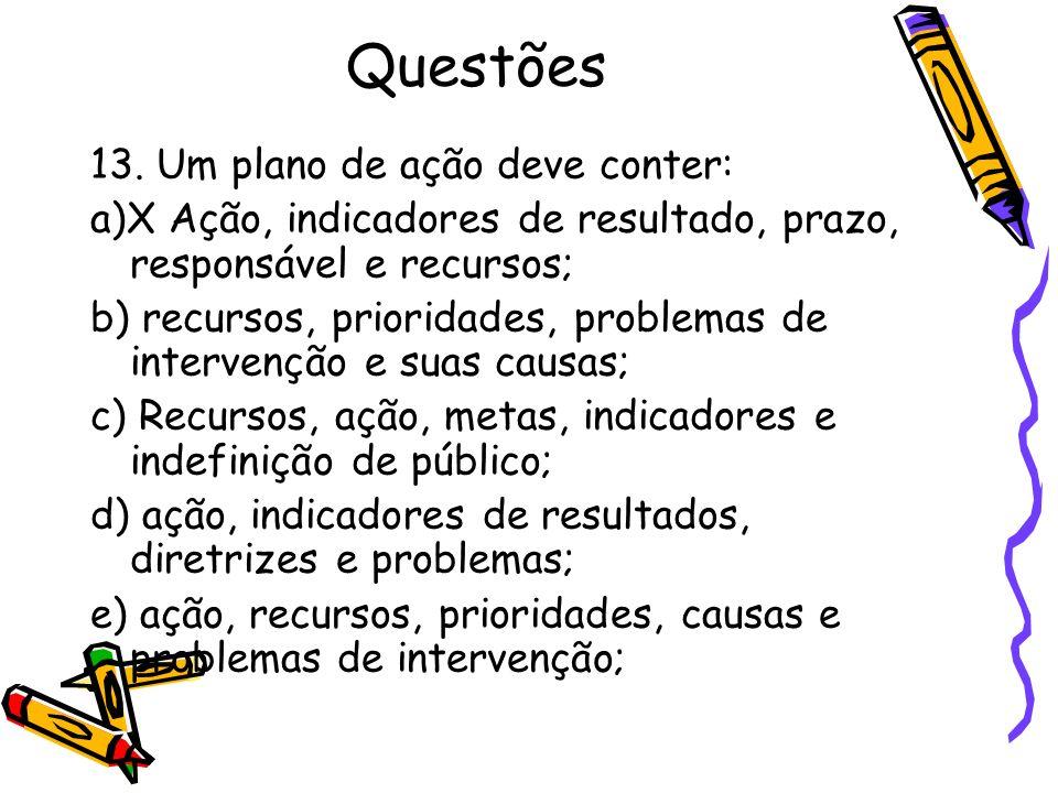 Questões 13. Um plano de ação deve conter: