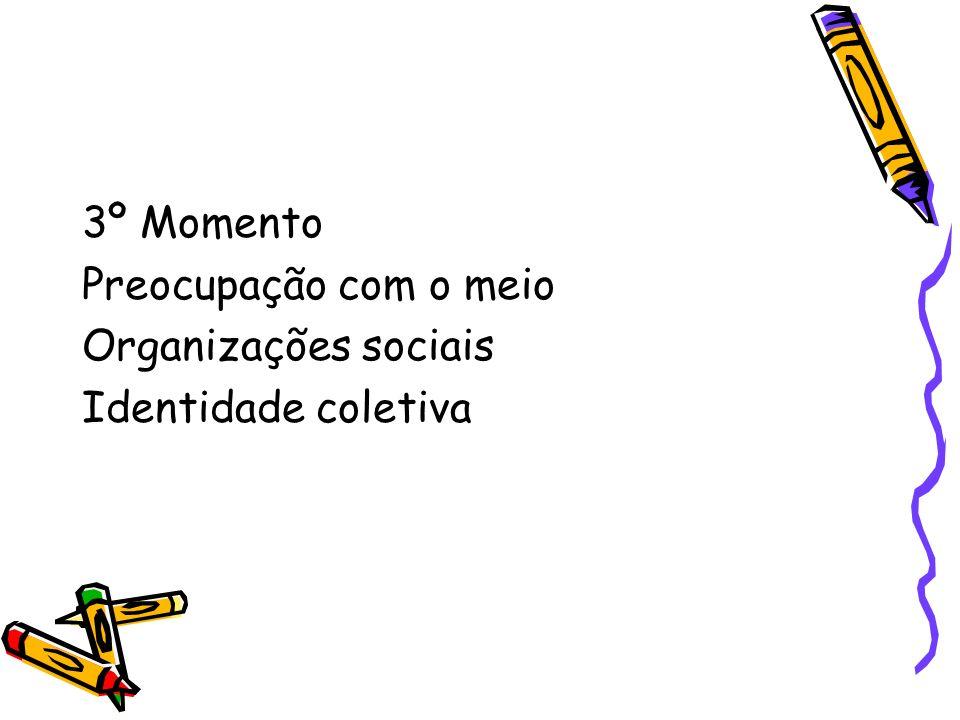 3º Momento Preocupação com o meio Organizações sociais Identidade coletiva