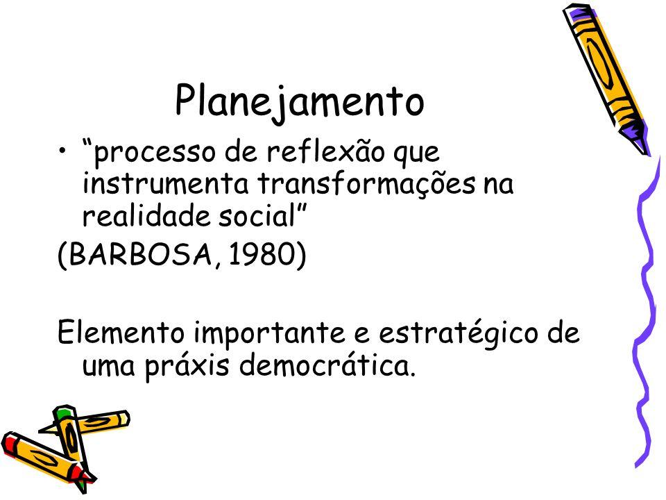 Planejamento processo de reflexão que instrumenta transformações na realidade social (BARBOSA, 1980)