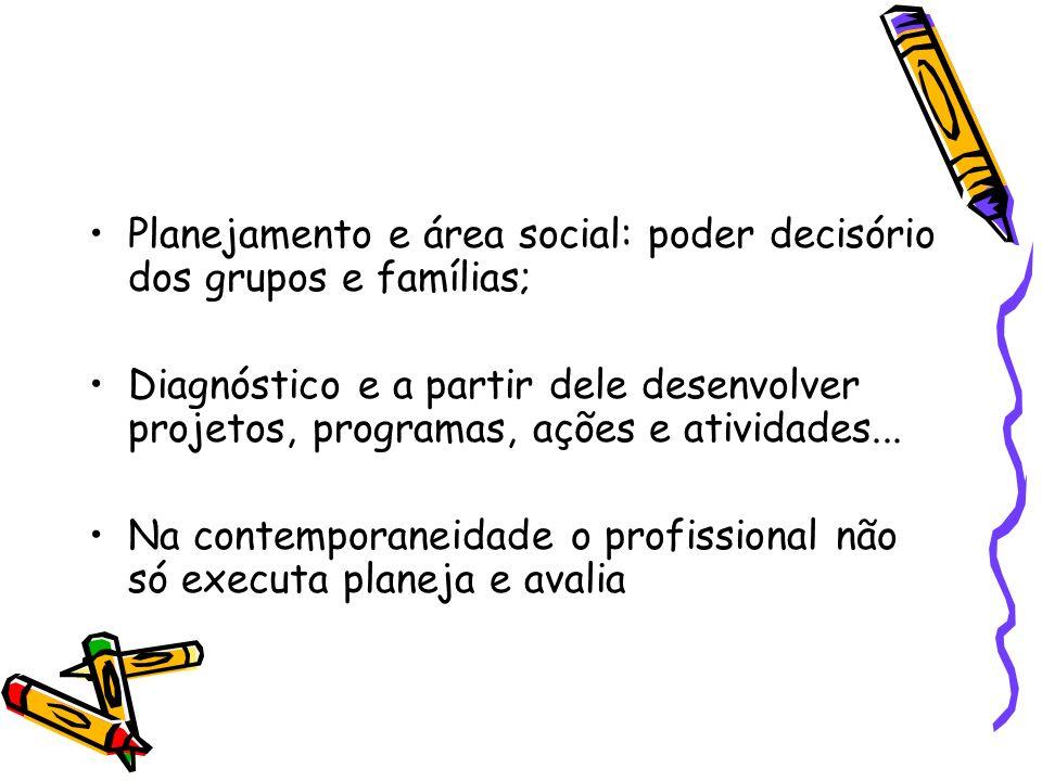 Planejamento e área social: poder decisório dos grupos e famílias;