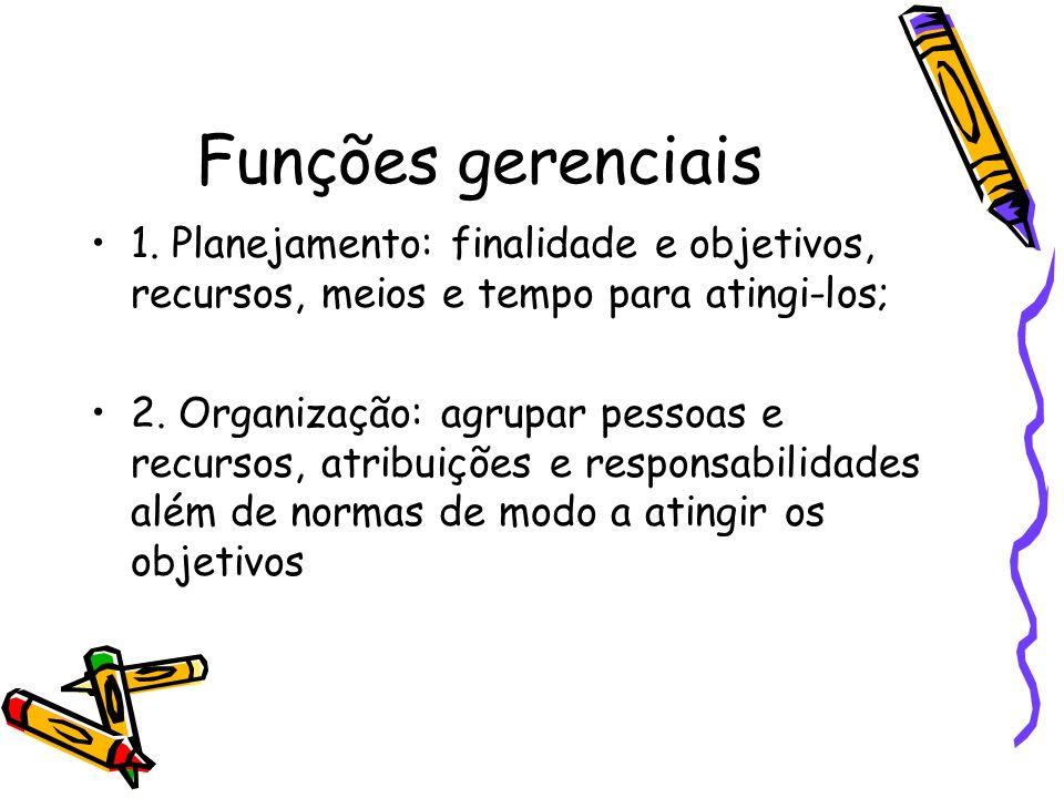Funções gerenciais 1. Planejamento: finalidade e objetivos, recursos, meios e tempo para atingi-los;