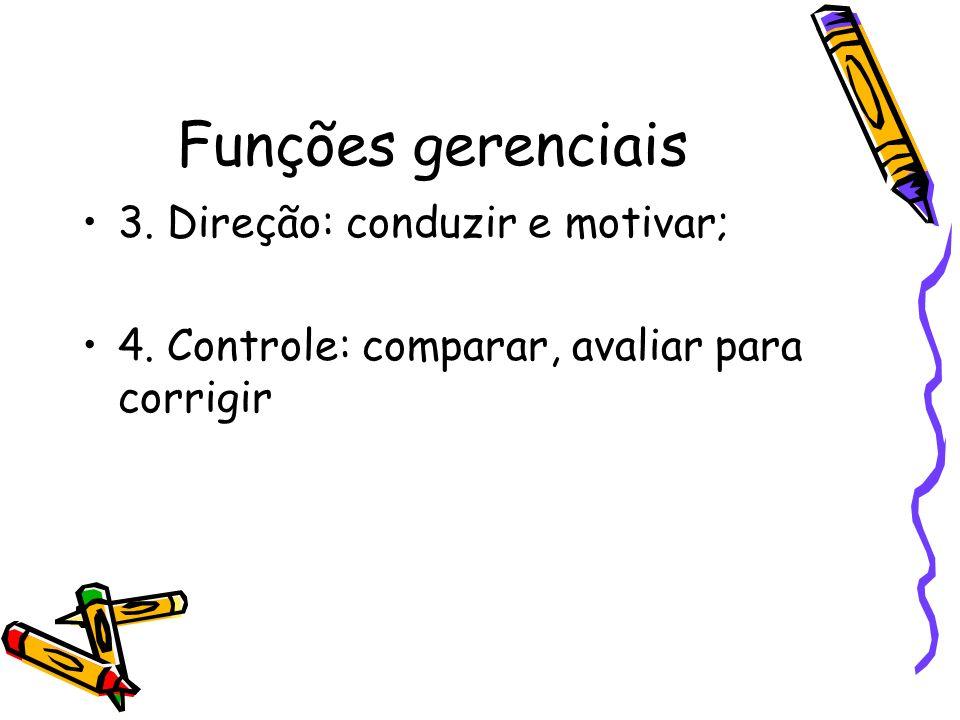 Funções gerenciais 3. Direção: conduzir e motivar;