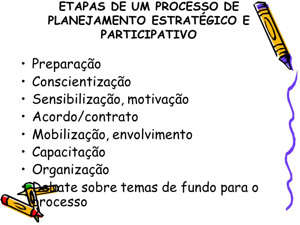 ETAPAS DE UM PROCESSO DE PLANEJAMENTO ESTRATÉGICO E PARTICIPATIVO