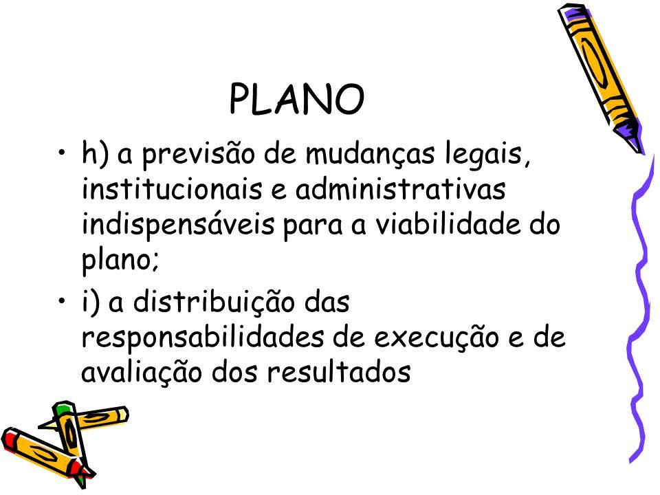 PLANO h) a previsão de mudanças legais, institucionais e administrativas indispensáveis para a viabilidade do plano;