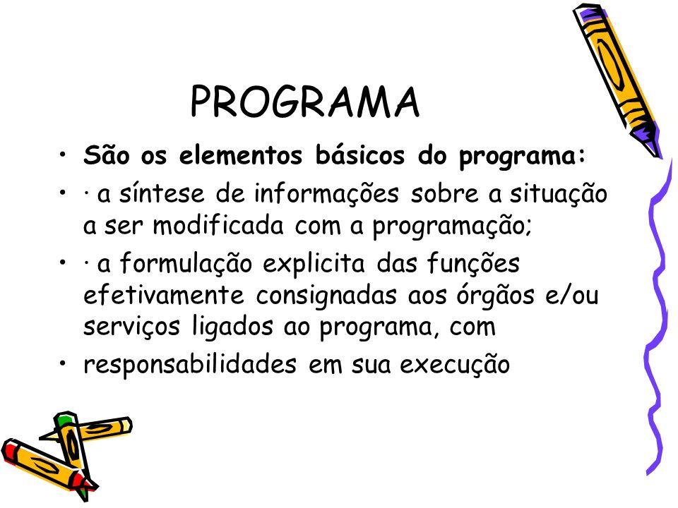 PROGRAMA São os elementos básicos do programa:
