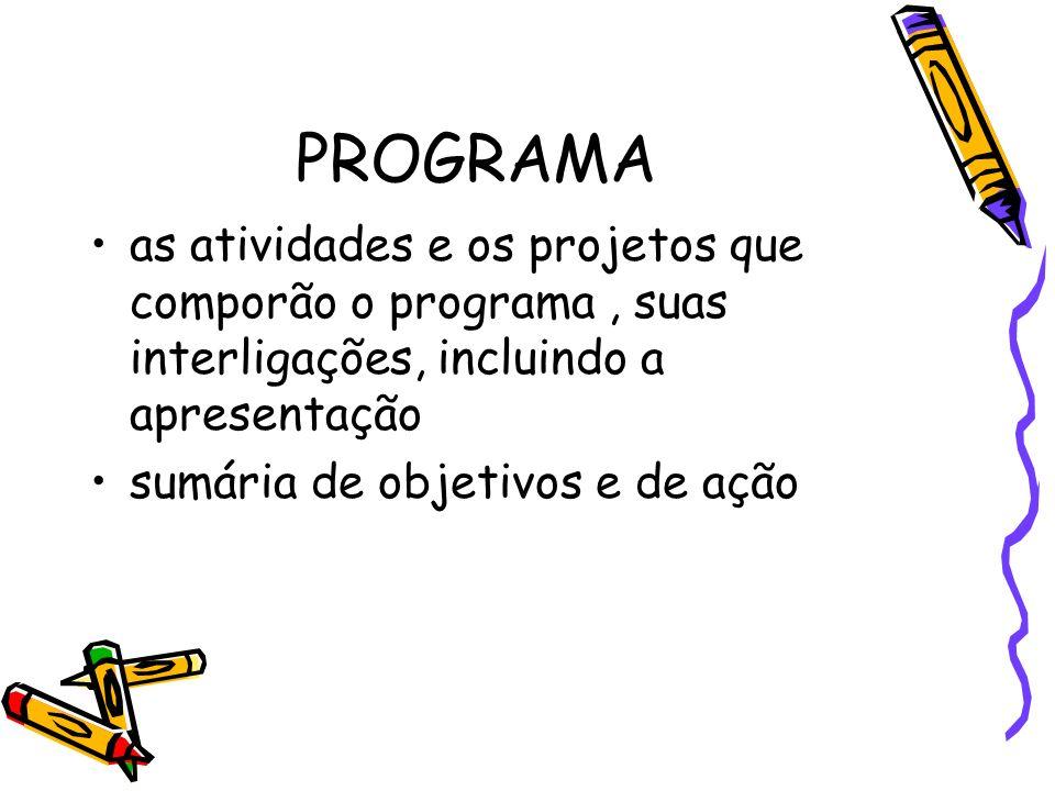 PROGRAMAas atividades e os projetos que comporão o programa , suas interligações, incluindo a apresentação.