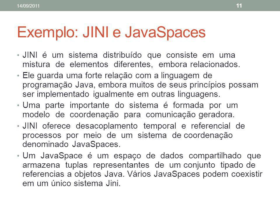 Exemplo: JINI e JavaSpaces