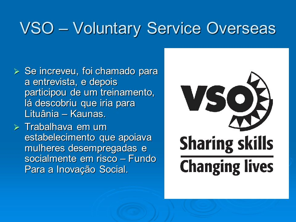VSO – Voluntary Service Overseas