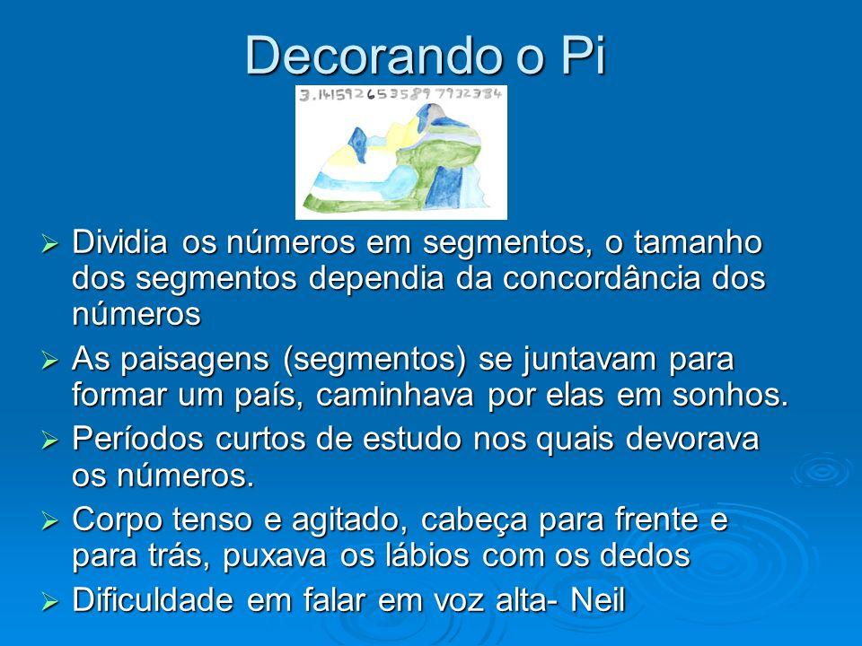 Decorando o Pi Dividia os números em segmentos, o tamanho dos segmentos dependia da concordância dos números.