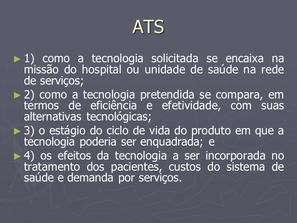 ATS 1) como a tecnologia solicitada se encaixa na missão do hospital ou unidade de saúde na rede de serviços;