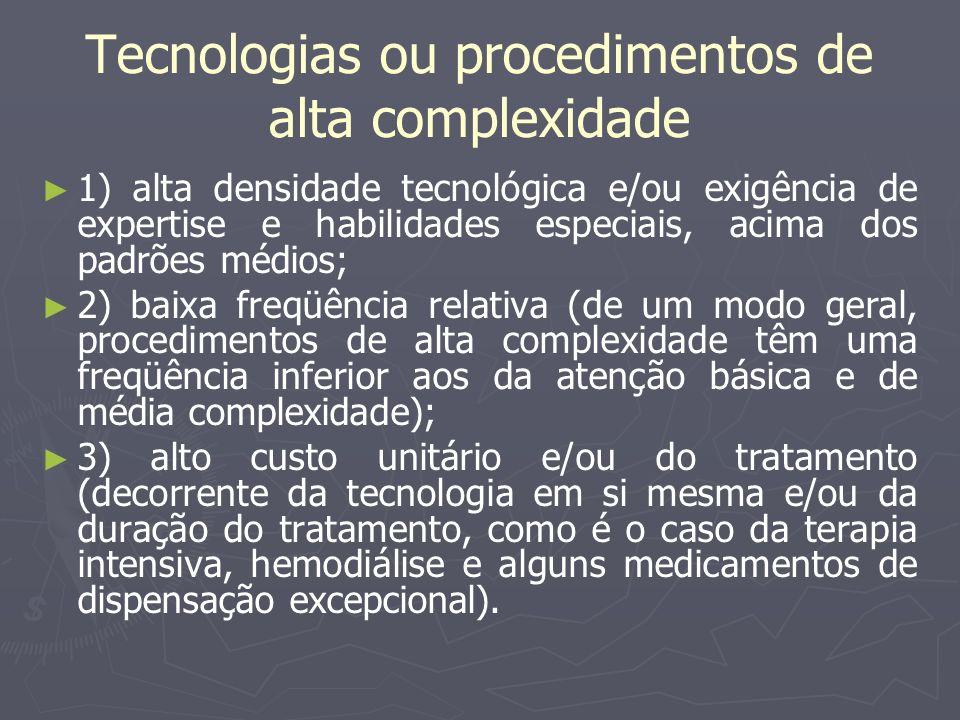 Tecnologias ou procedimentos de alta complexidade