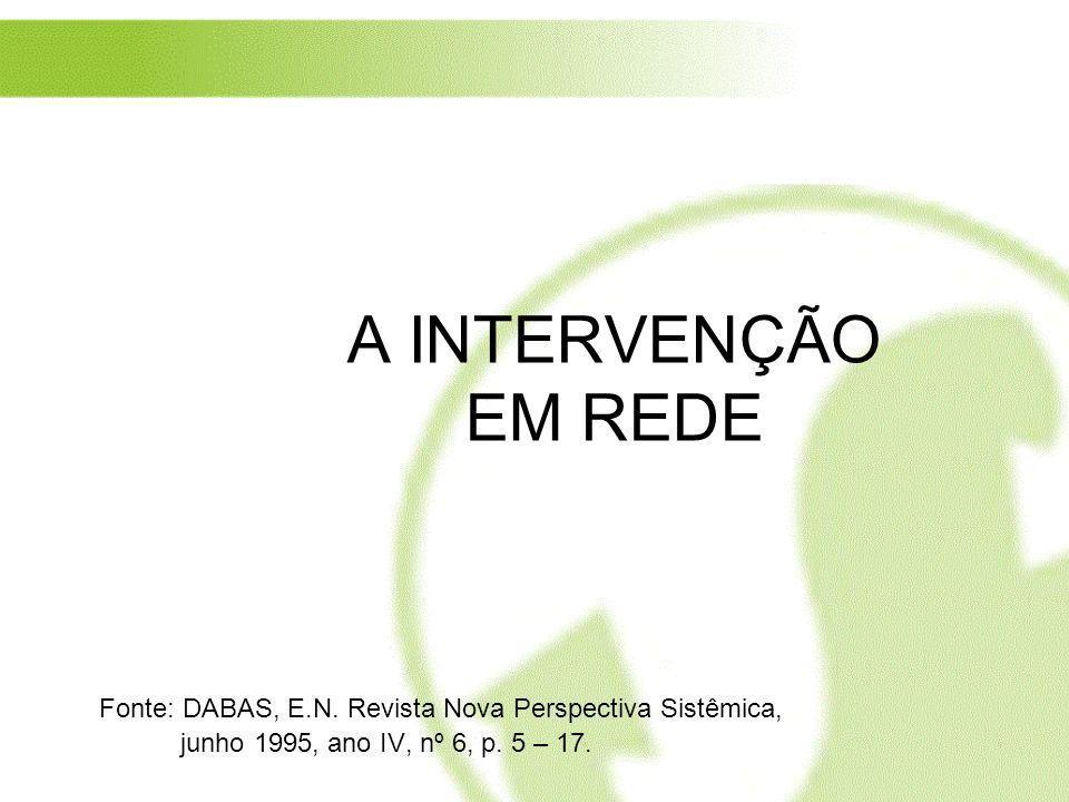 A INTERVENÇÃO EM REDE Fonte: DABAS, E.N.