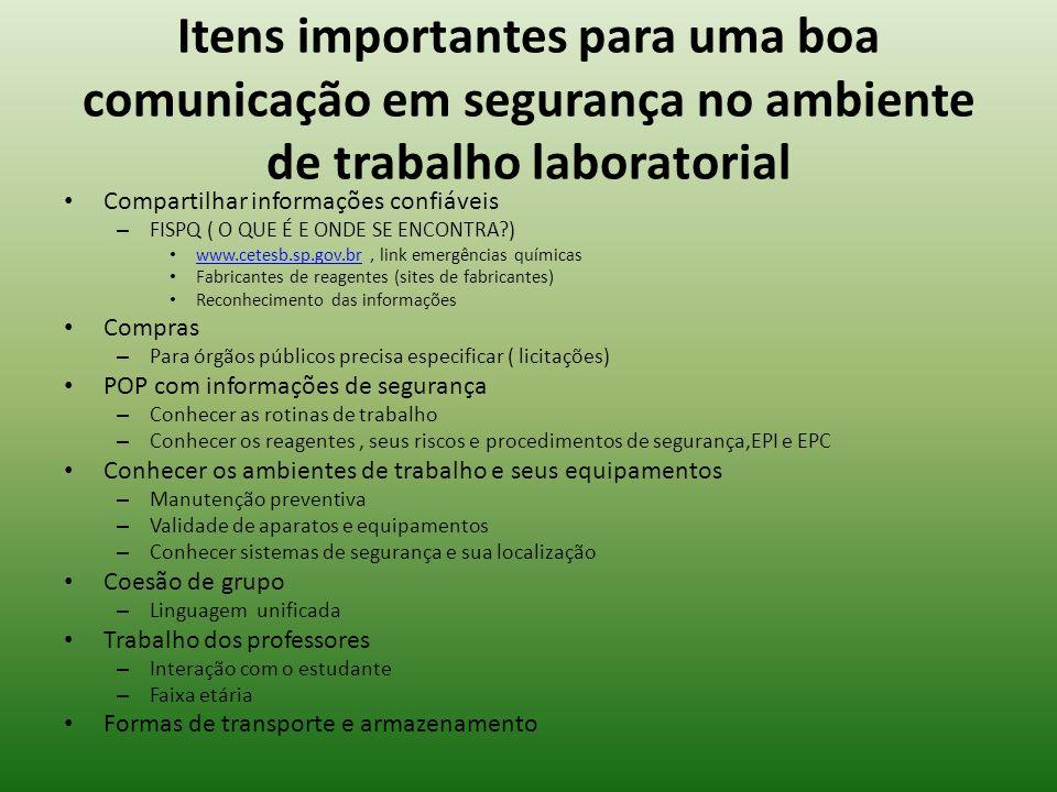 Itens importantes para uma boa comunicação em segurança no ambiente de trabalho laboratorial