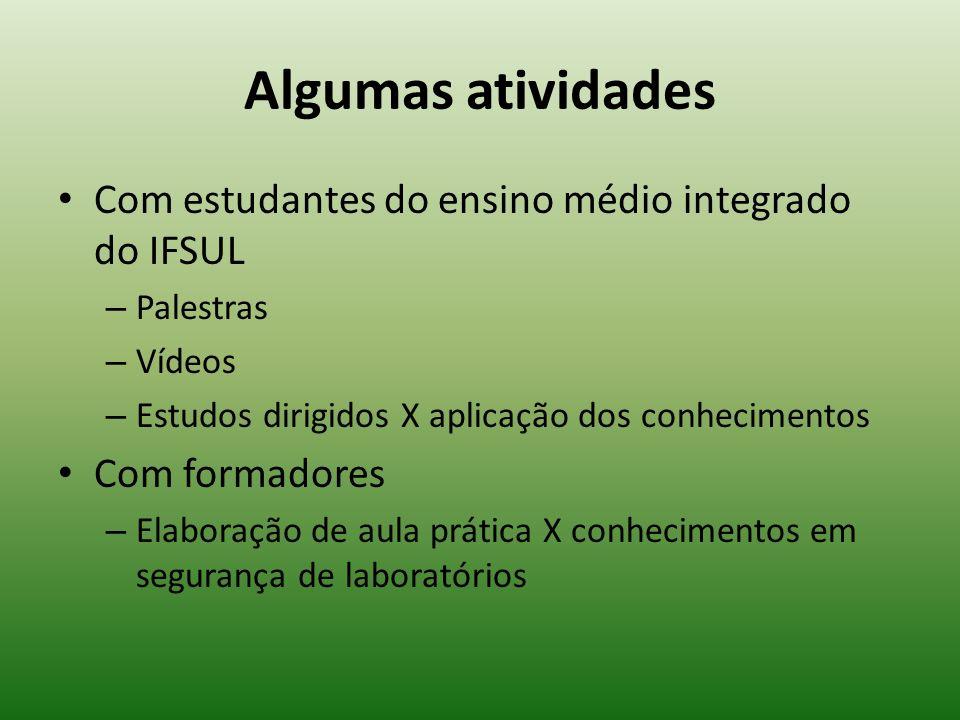 Algumas atividades Com estudantes do ensino médio integrado do IFSUL