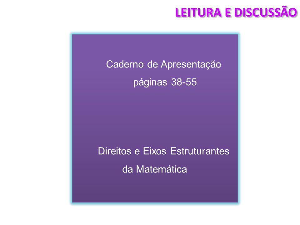 LEITURA E DISCUSSÃO Caderno de Apresentação páginas 38-55