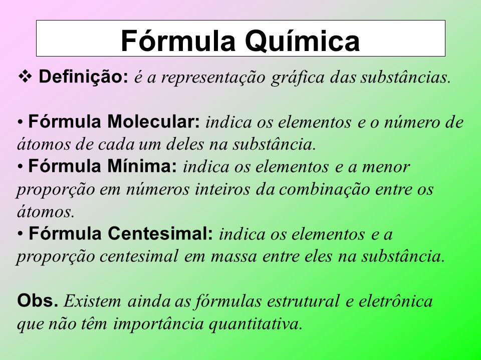 Fórmula Química Definição: é a representação gráfica das substâncias.