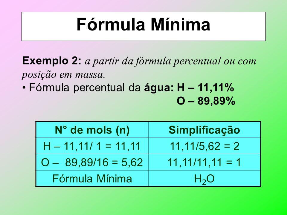 Fórmula Mínima Exemplo 2: a partir da fórmula percentual ou com posição em massa. Fórmula percentual da água: H – 11,11%