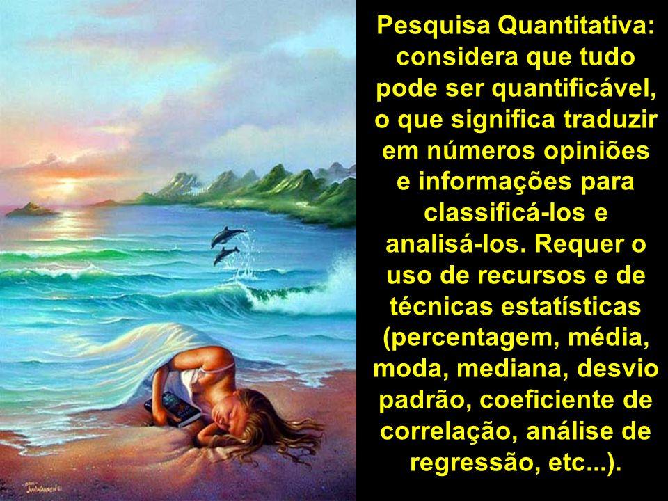Pesquisa Quantitativa: considera que tudo pode ser quantificável, o que significa traduzir em números opiniões e informações para classificá-los e analisá-los.