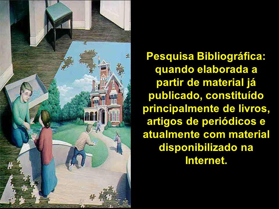 Pesquisa Bibliográfica: quando elaborada a partir de material já publicado, constituído principalmente de livros, artigos de periódicos e atualmente com material disponibilizado na Internet.