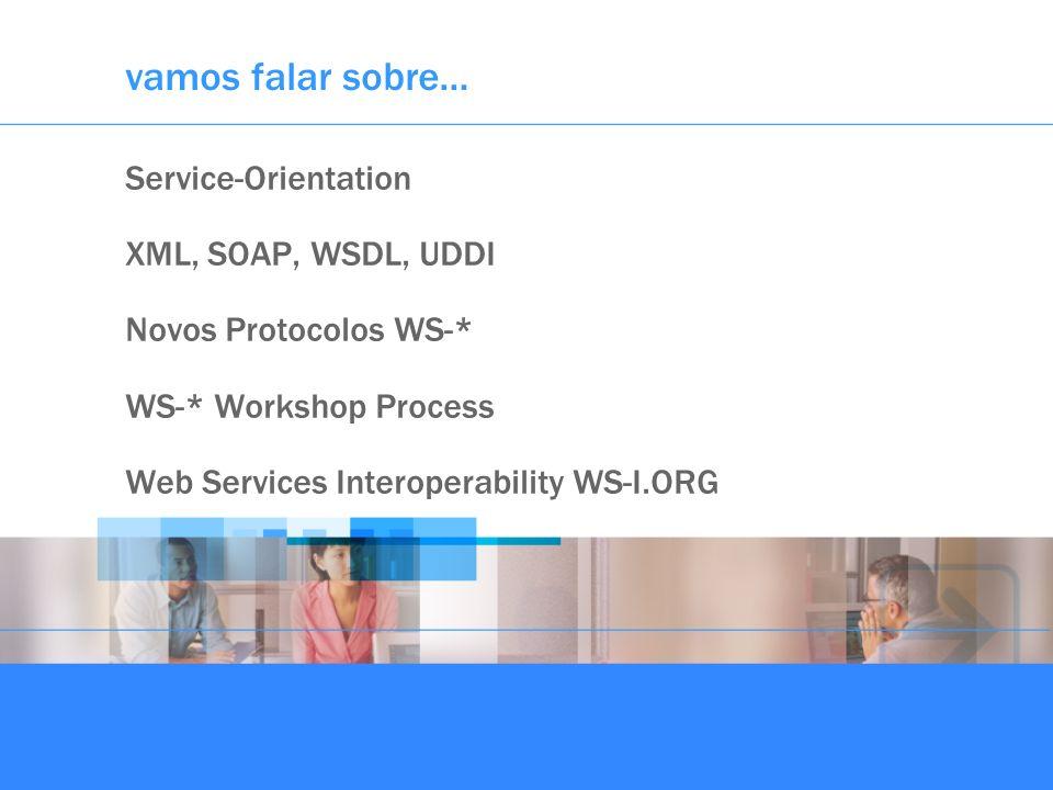 vamos falar sobre… Service-Orientation XML, SOAP, WSDL, UDDI