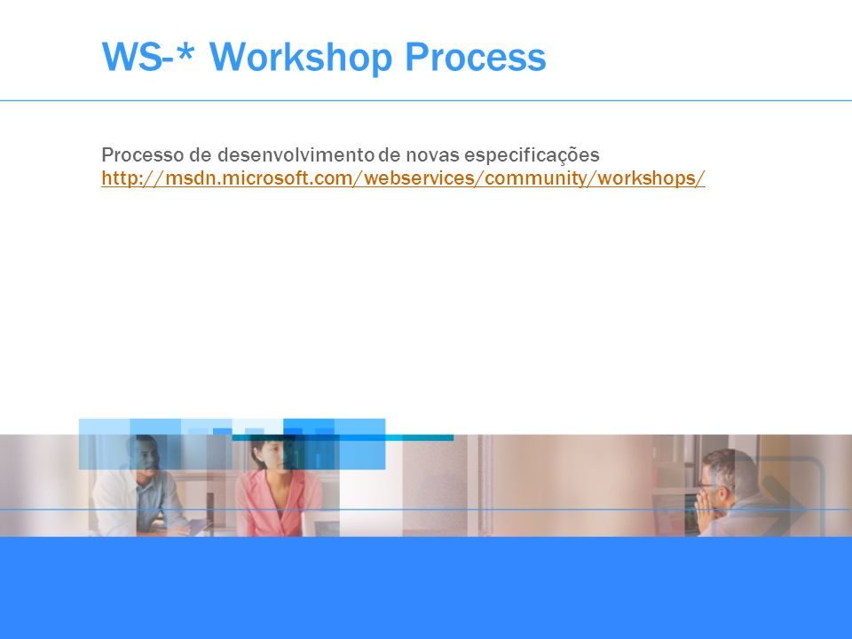 WS-* Workshop ProcessProcesso de desenvolvimento de novas especificações.