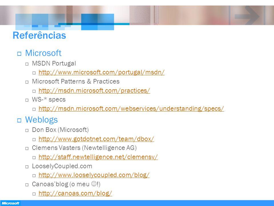 Referências Microsoft Weblogs MSDN Portugal