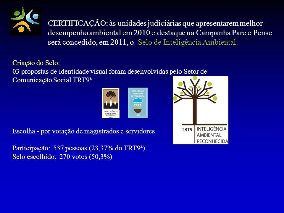 CERTIFICAÇÃO: às unidades judiciárias que apresentarem melhor desempenho ambiental em 2010 e destaque na Campanha Pare e Pense será concedido, em 2011, o Selo de Inteligência Ambiental.